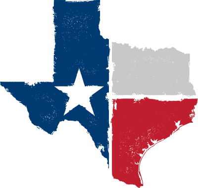 Texas State Shape with Flag overlay.